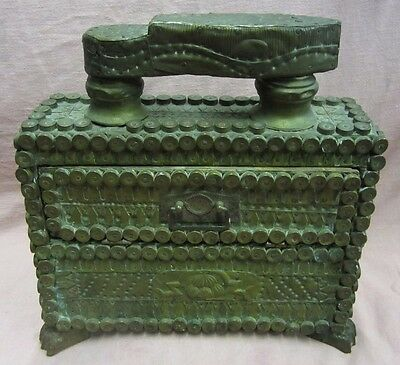 Old Tramp Folk Art Shoe Shine Box Ornate Brass Detailed Wooden Box unique