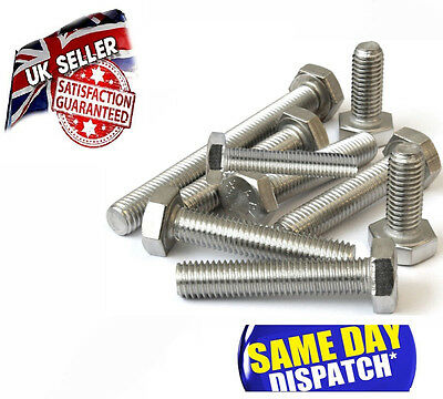 M6 x A2 STAINLESS STEEL HEXAGON HEAD FULLY THREADED SET BOLTS, SCREWS HEX HEAD