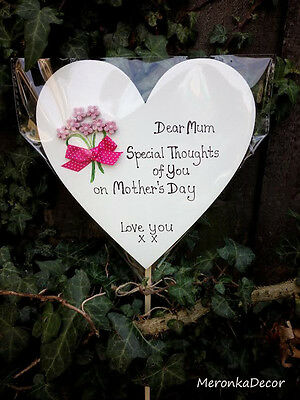 Memorial heart-Mothers Day/Special Mum Grave Ornament-Personalised- any text15cm