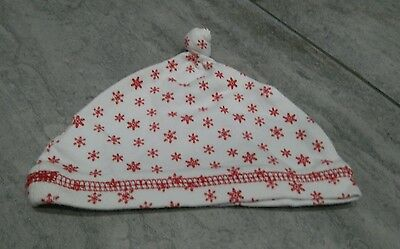 Nearly New Baby's Cute Red & White Winter Snowflake Christmas Hat -  3-6 Months