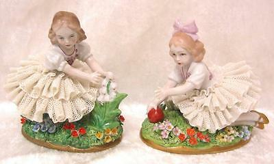 Sitzendorf Lace dipped dressed girls with flowers.