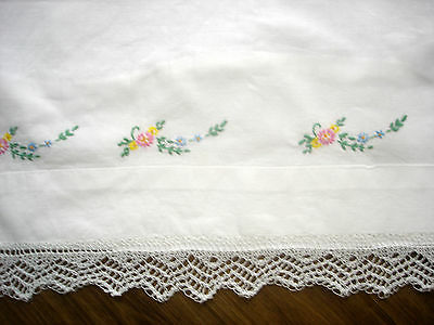 Vintage White Cotton Pillowcase Hand Embroidered Flowers & Leaves