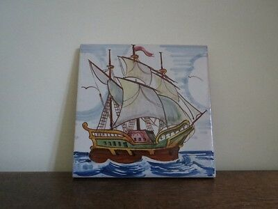 Spanish Hand Painted Tile   Galleon - Ship