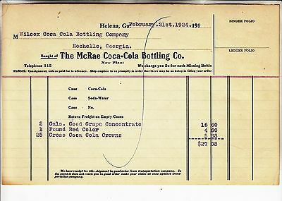 THE McRAE COCA-COLA BOTTLING  CO. INVOICE  DATED   FEBRUARY. 21st.1924