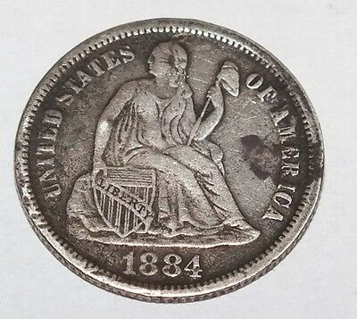 """1884 Seated Dime Love Token Engraved """"JE"""" Initials Silver Pendant Charm"""