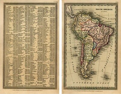 1833 Interesting T. Starling map South America complete with the text page