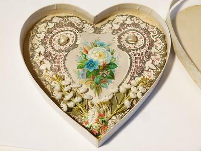 Antique 1876 Valentine Card Paper Lace & Shell Love Heart Shaped All Original #1