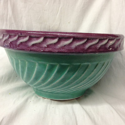 "Fioriware Embossed Spiral Mixing Bowl 9 1/4"" Purple & Aqua Green Ohio Pottery"