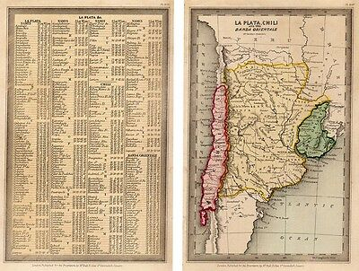 1833 Interesting T. Starling Chile and Central Argentina - with page of  text