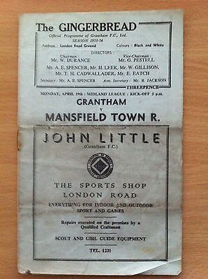 Grantham v Mansfield Town Reserves - 19/04/1954 - Midland League