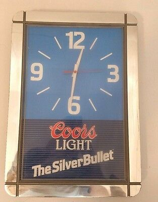 """Vintage Coors Light The Silver Bullet Clock 17"""" X 12"""" Working"""