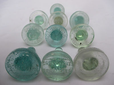 10x EMBOSSED SAUCE RELISH VINTAGE ANTIQUE OLD GLASS BOTTLES STOPPERS c1900