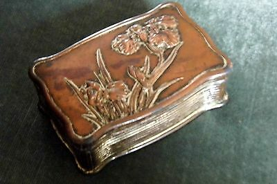 antique IRIS Casket Japanese cast relief box oriental antique jewellery