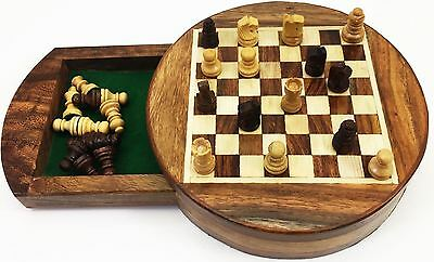 Mini Round Wooden Chess Magnetic in Box Game Gift Traditional Board Casette Fun