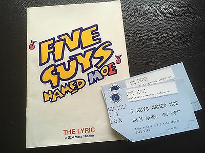 Five Guys Named Moe Theatre Programme & Used Tickets Musical Collectable
