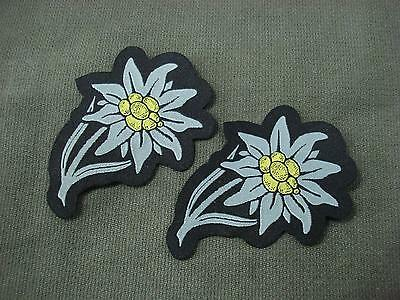 Set of 2 German Army Edelweiss Woven Patches Sew On