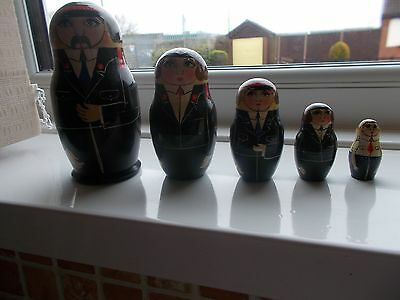 Set x 5  Wooden  Russian  Nesting Dolls Set - Police