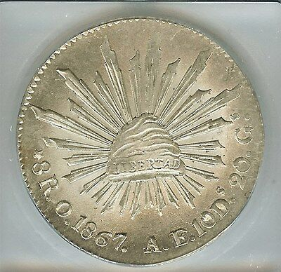 Mexico 1867-Oae Silver 8 Reales  Km#377-11  Icg Ms65