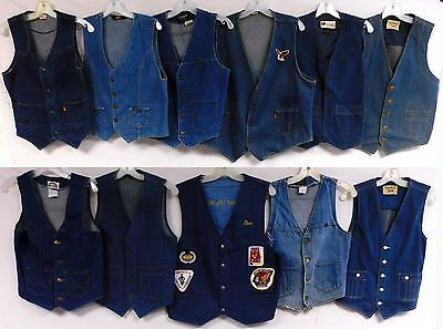 Lot of 11 Vintage Denim Vests Wrangler Levis Lee ORANGE TAB Patches Motorcycle