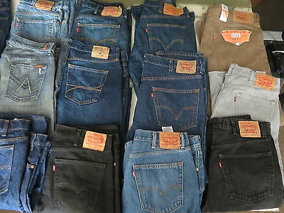 Lot Of 18 Pairs Of Mens Jeans Levis Seven Hollister 501 505 550 Blue Size 38-44