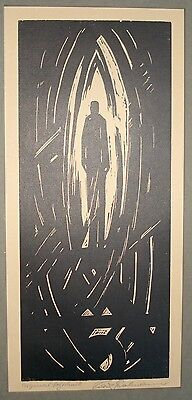 Early 20 c german expressionist woodblock pencil signed,titled,framed, w/prov