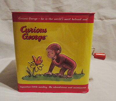 """Schylling Curious George Spunky Monkey """"pop Goes The Weasel"""" Jack In The Box"""