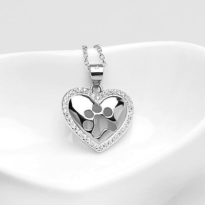 925 Sterling Silver Puppy Pet Cat Dog Paw Print Pendant Crystal Heart Necklaces