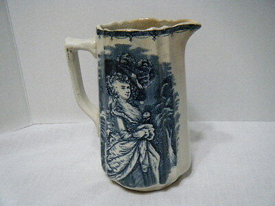 Vintage Blue & White Transfer Ware Pitcher Victorian Lady Signed