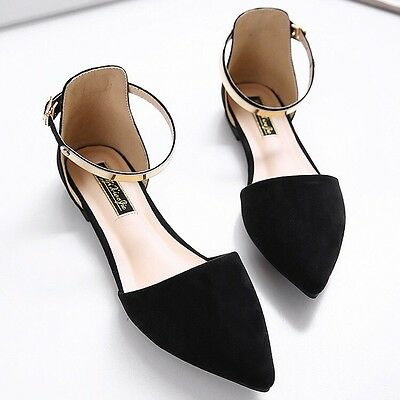Spring 2017 Fashion Women's Pointed Toe Ankle Strap D'Orsay Ballet Flats Shoes