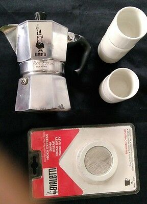 Cafetiere Italienne Bialetti Moka Express + Joint Neuf + 5 Tasses Expresso
