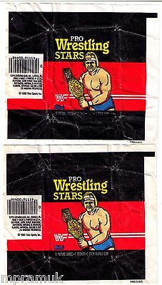 Topps Pro Wrestling Stars 2 wrapper lot, 1985, Hulk Hogan, uncommon