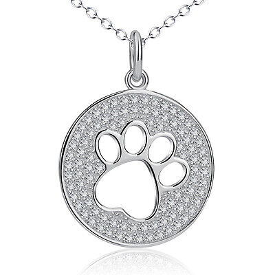 925 Sterling Silver Pet Puppy Dog Cat Paw Print Micro Crystal CZ Round Necklace
