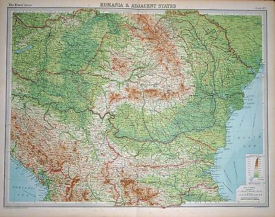 "1920 LARGE MAP ~ RUMANIA & ADJACENT STATES ~ ROMANIA ~ 23"" x 18"""