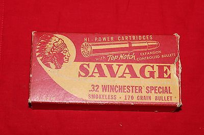 Savage Hi-Power Cartridge Box .32 Winchester Special Empty Indian Logo