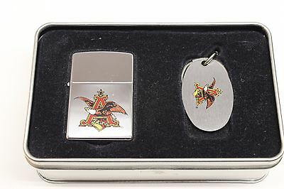 Zippo Anheuser-Busch Beer Lighter and Key Chain in Collectors Tin