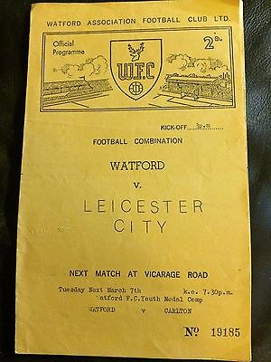 WATFORD RESERVES v LEICESTER CITY RES 1960-61 FOOTBALL COMBINATION