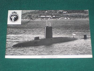 Royal Navy Hms Submarine Courageous Real Photograph