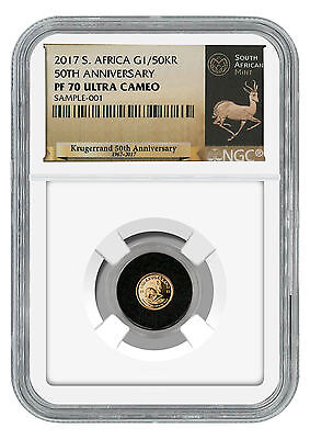 2017 South Africa 1/50 oz Gold Krugerrand NGC PF70 UC (Exclusive Label) SKU45661