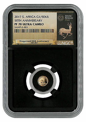 2017 South Africa 1/50 oz Gold Krugerrand NGC PF70 UC (Exclusive Black) SKU45662