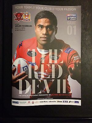 Salford Red Devils Vs Wigan Warriors Official Match Day Programme 11/02/17