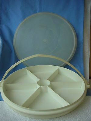 """VINTAGE TUPPERWARE--  LARGE """"PARTY SUSAN"""" with HANDLE and LID"""