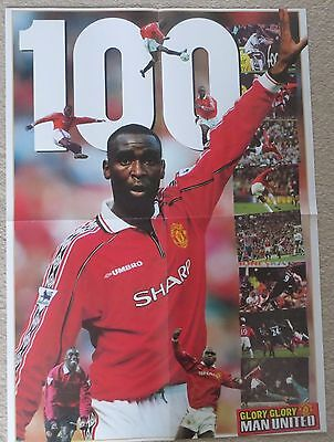 MANCHESTER UNITED  Large double sided poster Andy Cole 1999 Man Utd