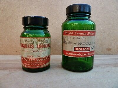 TWO SMALL VINTAGE RIBBED GREEN TABLET BOTTLES - COCCLUS INDICUS & PLUMBI-c-OPIO