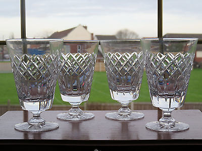 x4 Crystal Cut Glass Wine Goblets Water Goblets Unsigned