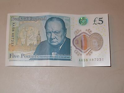 RARE new five pound polymer note AA58