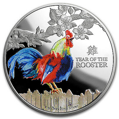 2017 NZL 1 oz Proof Silver $2 Lunar Year of the Rooster (Color) - SKU #103376