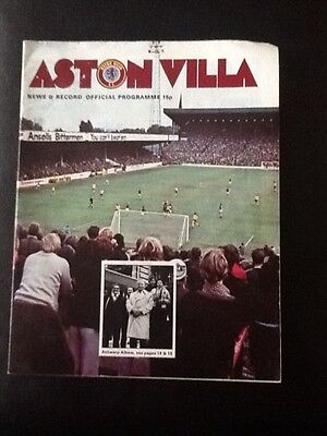 Aston Villa vs Royal Antwerp football programme 1975