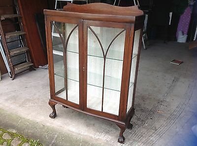 Antique / Vintage Glass Display Cabinet, Claw Feet