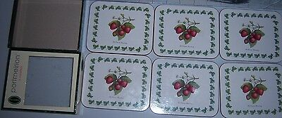Set Of Six Portmeirion Coasters. Strawberry Design In Box