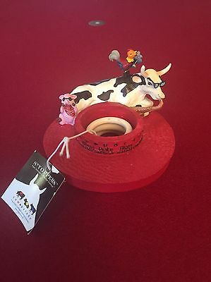 Cow Parade candle topper Mixed Plate Blues